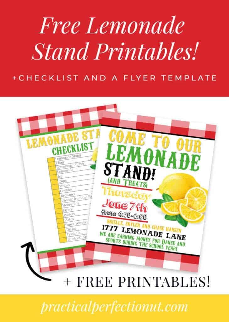 Kids lemonade stand free printable checklist