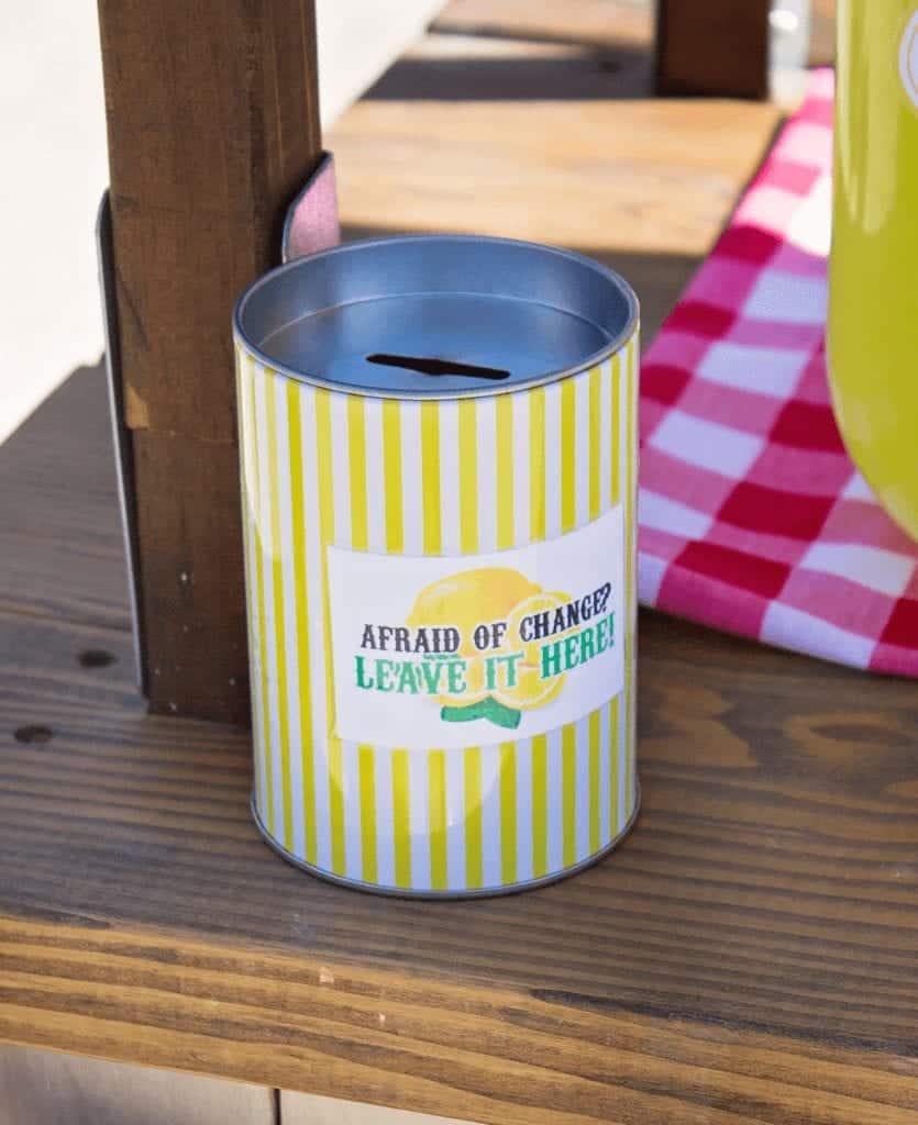 kids lemonade stand change jar