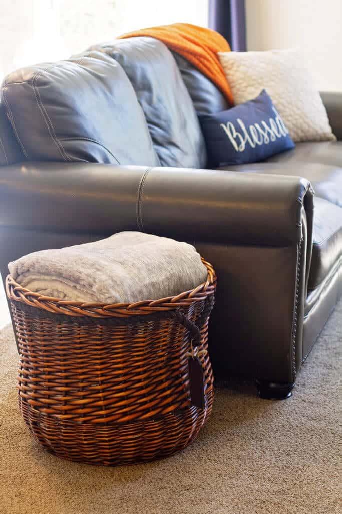 extra large blanket basket for blanket storage