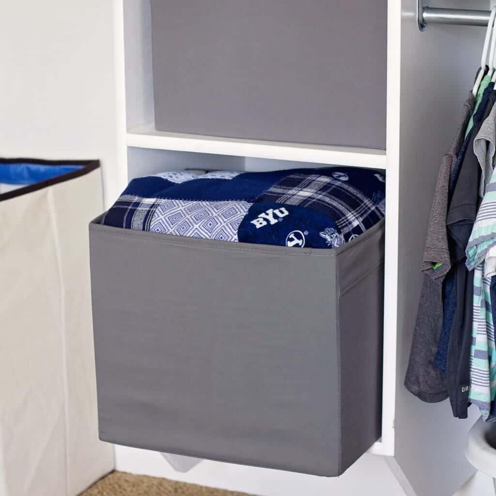 closet bins for blanket storage and organization