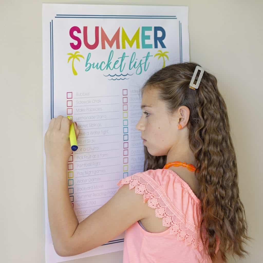 summer bucket list free printable poster