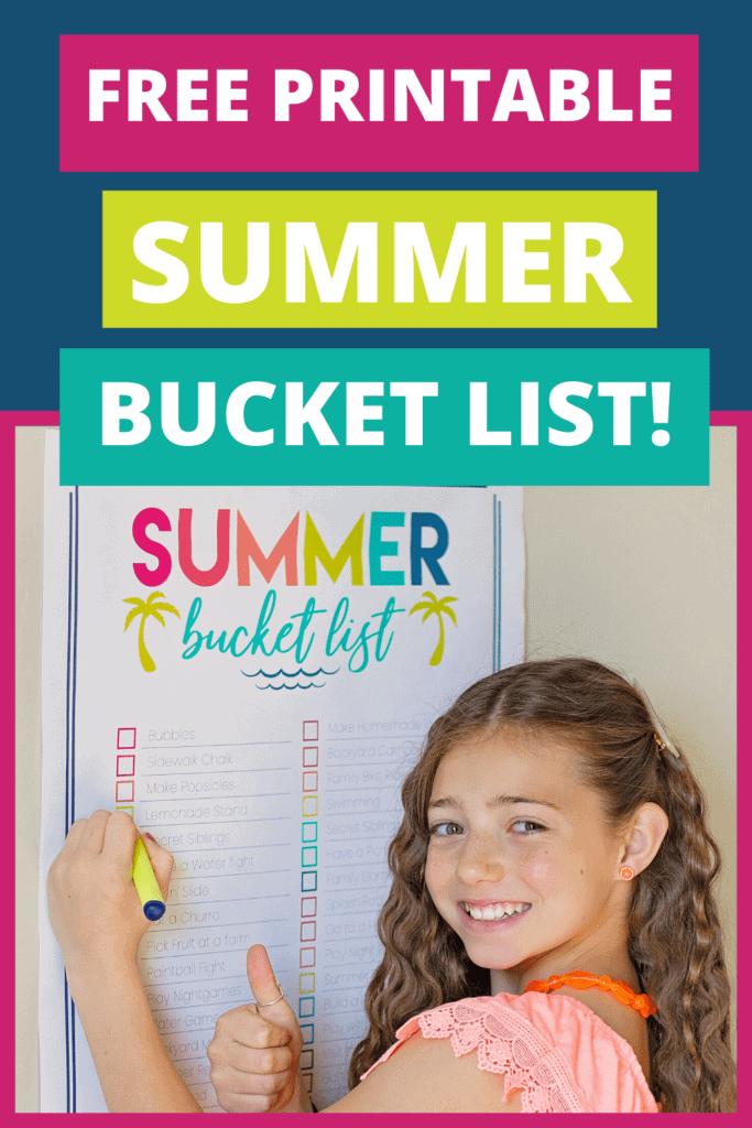 kids summer activities bucket list