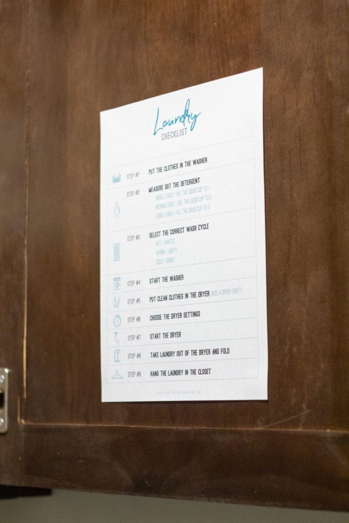 laundry checklist in laundry room