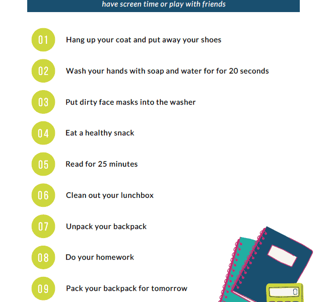 After School Routine Checklist + A Free Printable