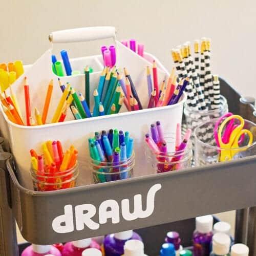 How to Organize a Kids Art Cart